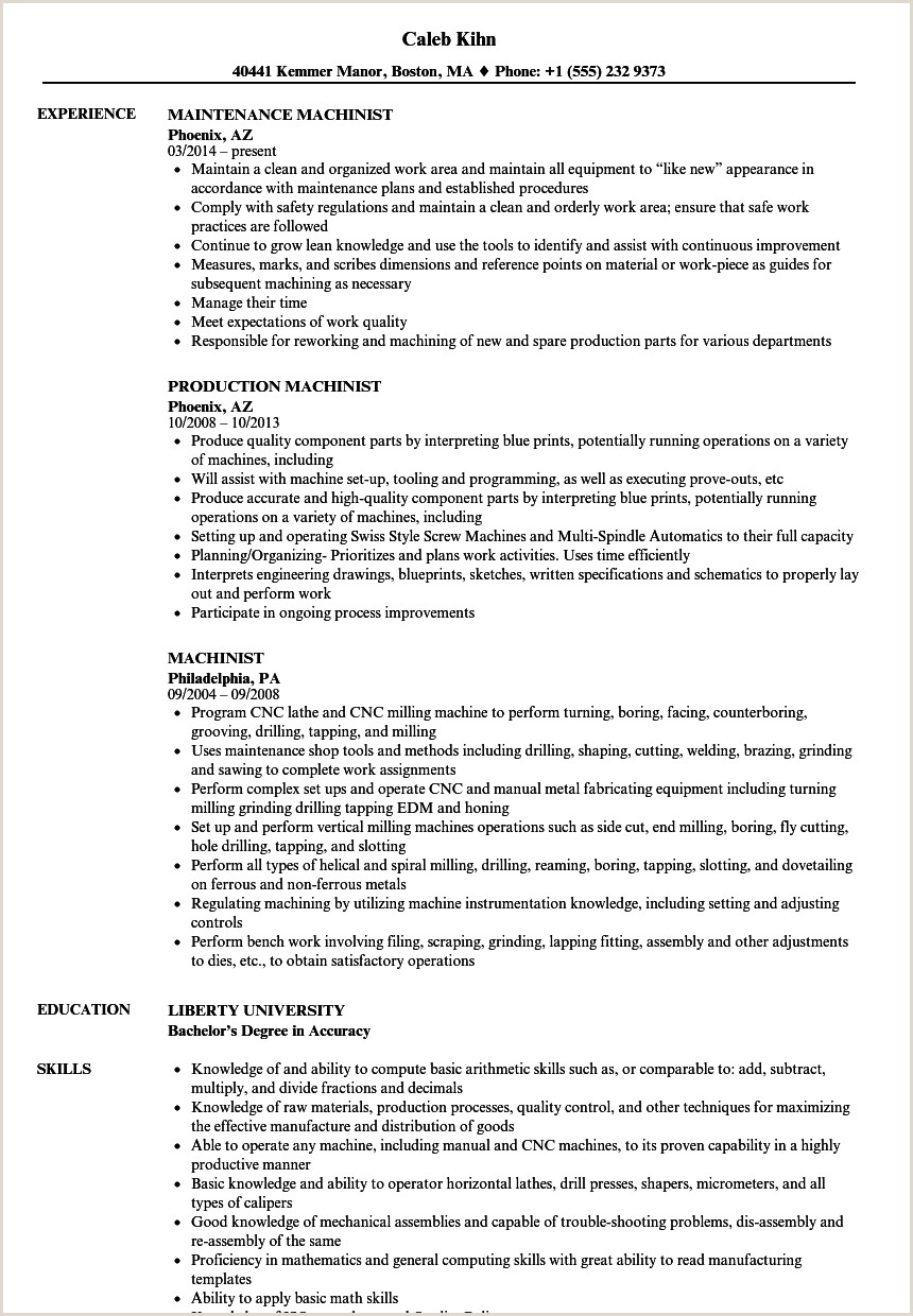 Latest Cv format for Job In India Machinist Resume Samples