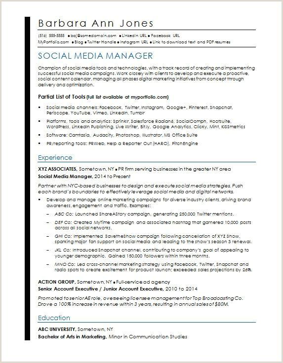 Social Media Resume Sample