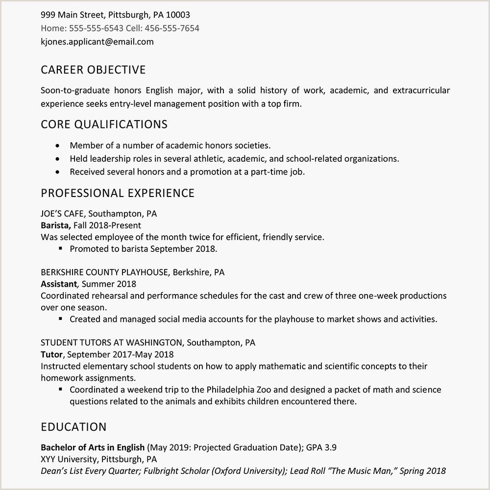 High School Graduate Resume Example Work Experience