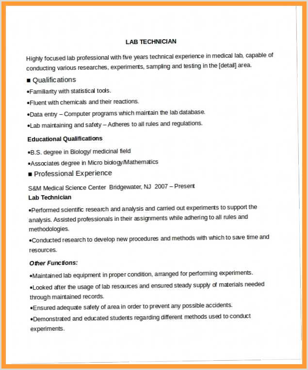 Latest Cv format for Microbiologist 12 13 Microbiology Lab Technician Resume