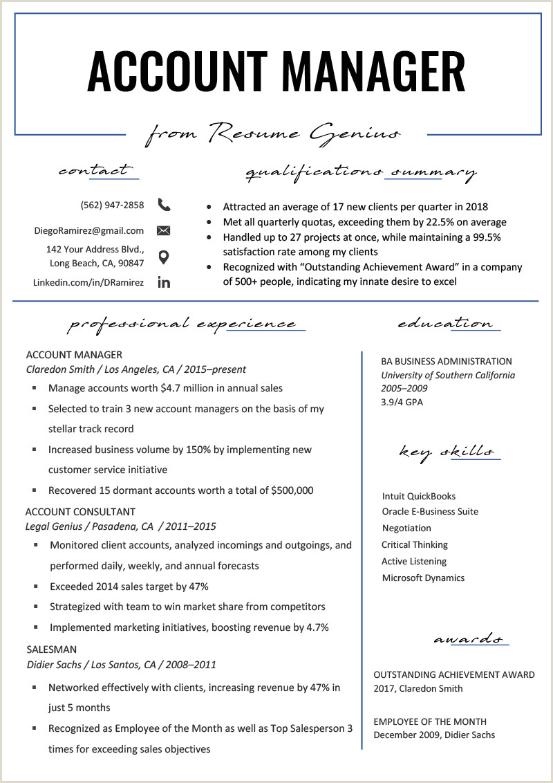 Latest Cv format for Sales Manager Account Manager Resume Sample & Writing Tips