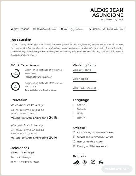 Latest Cv format for software Engineers Free Engineering Resume Template – Chanceinc