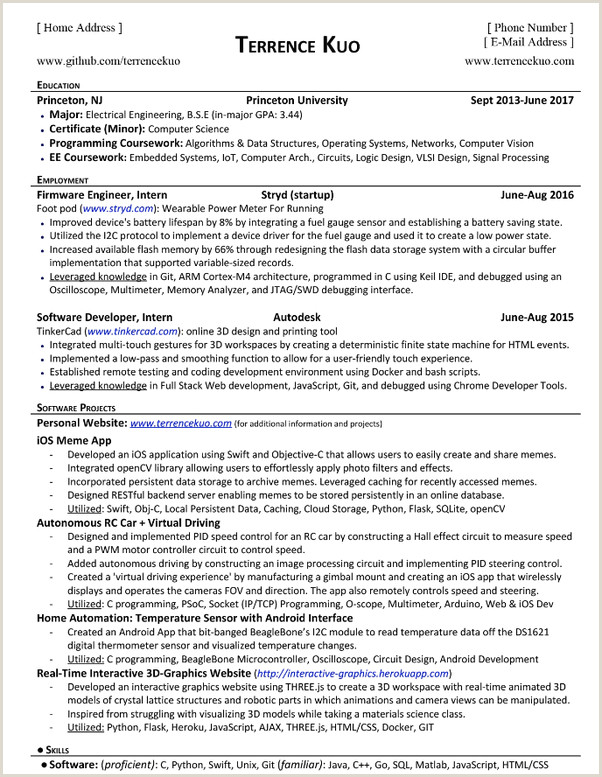 Latest Cv format for software Engineers What are some Examples Of A Puter Science Student S