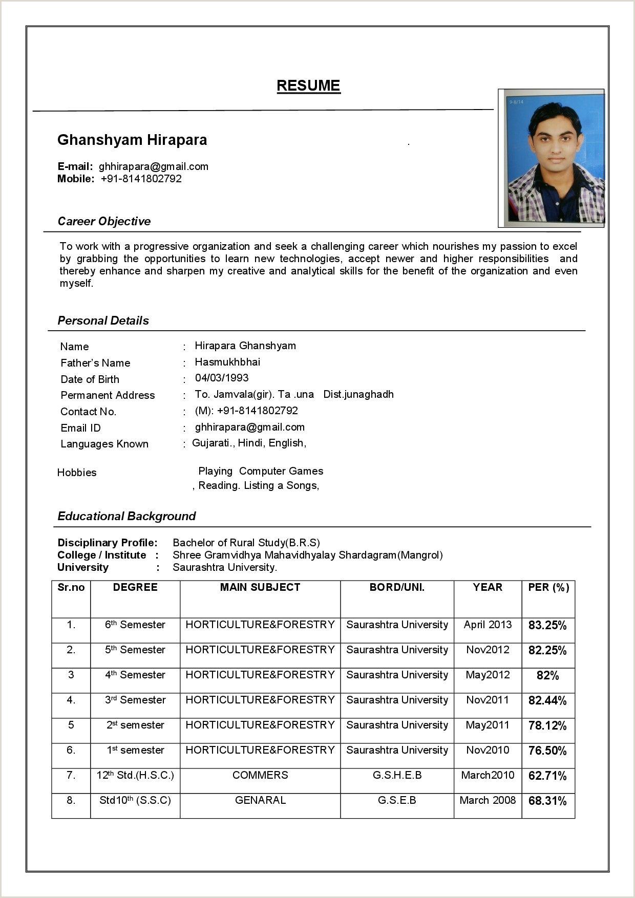 Latest 3 Resume Format