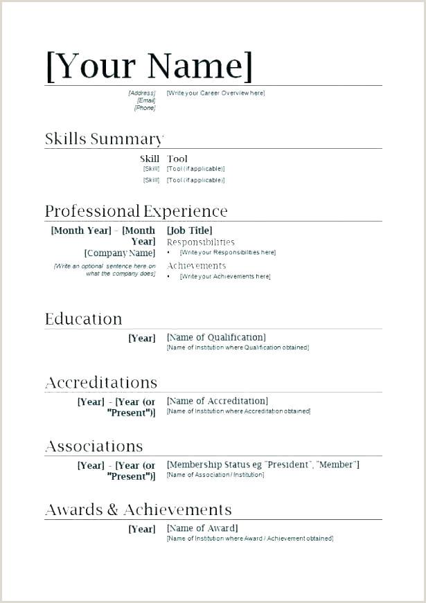 cv format template