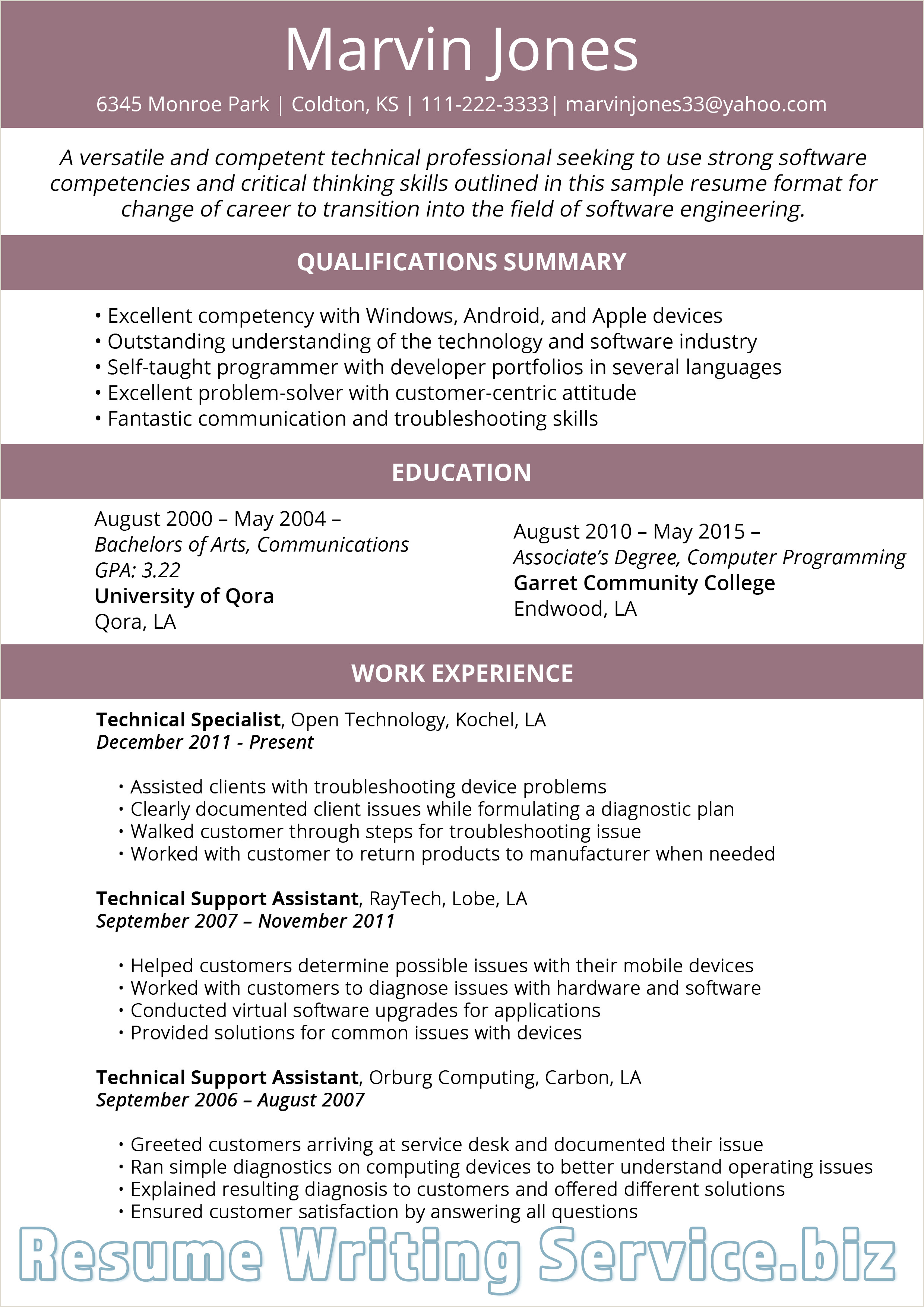 Pin by Resume 2019 Samples on Career Change Resume Format