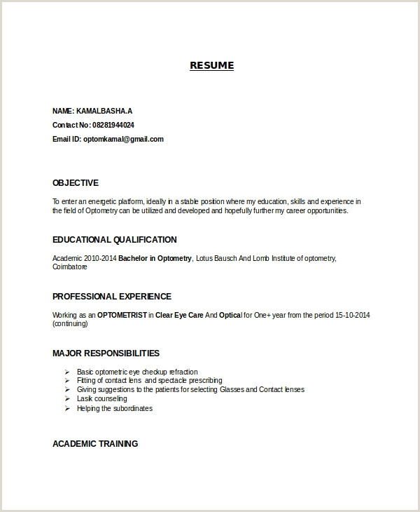 Latest Cv format In Bangladesh Doc Download Optometrist Resume Template 7 Free Word Pdf Documents