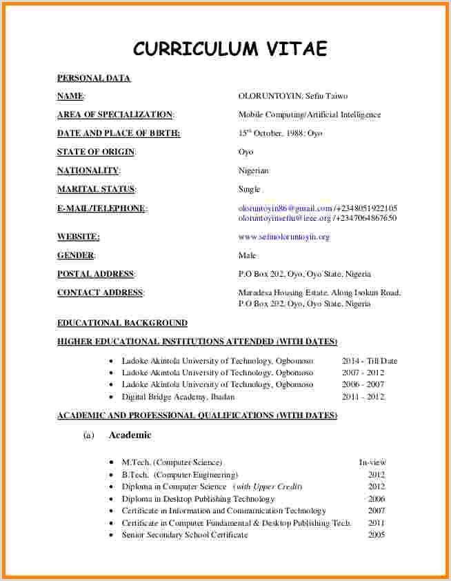 Latest Cv format In Kenya Sample Cv Best Cv format In Kenya Current Curriculum Vitae