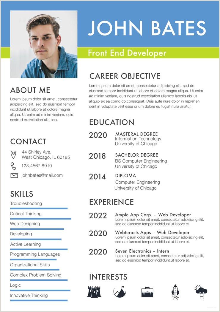 Free Front End Developer Resume CV Template in shop