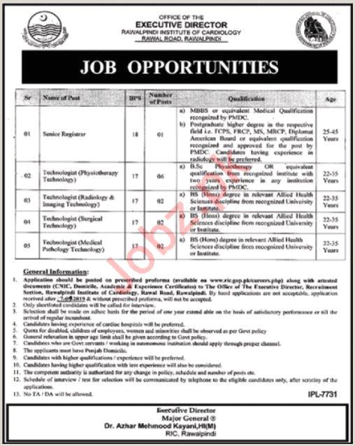 Rawalpindi Institute Cardiology Jobs 2019 Job
