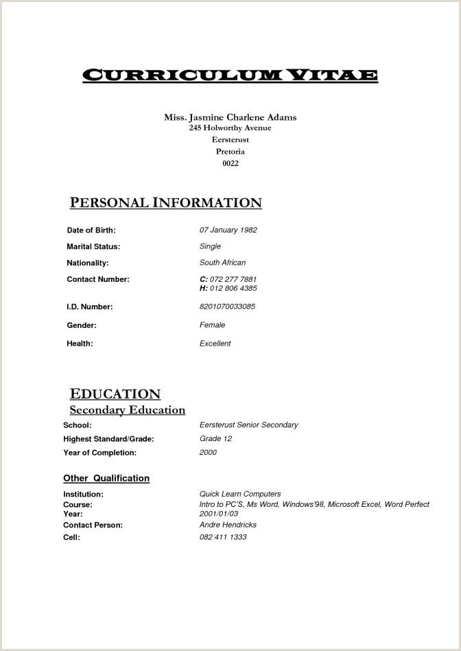 Latest Cv format In south Africa format Curriculum Vitae Pdf Inspirational Cv Examples Pdf En