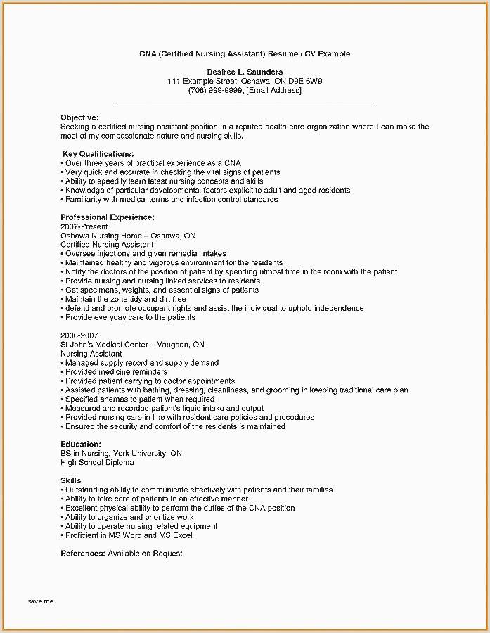 Cna Resume Template Microsoft Word New Sample Cna Resume