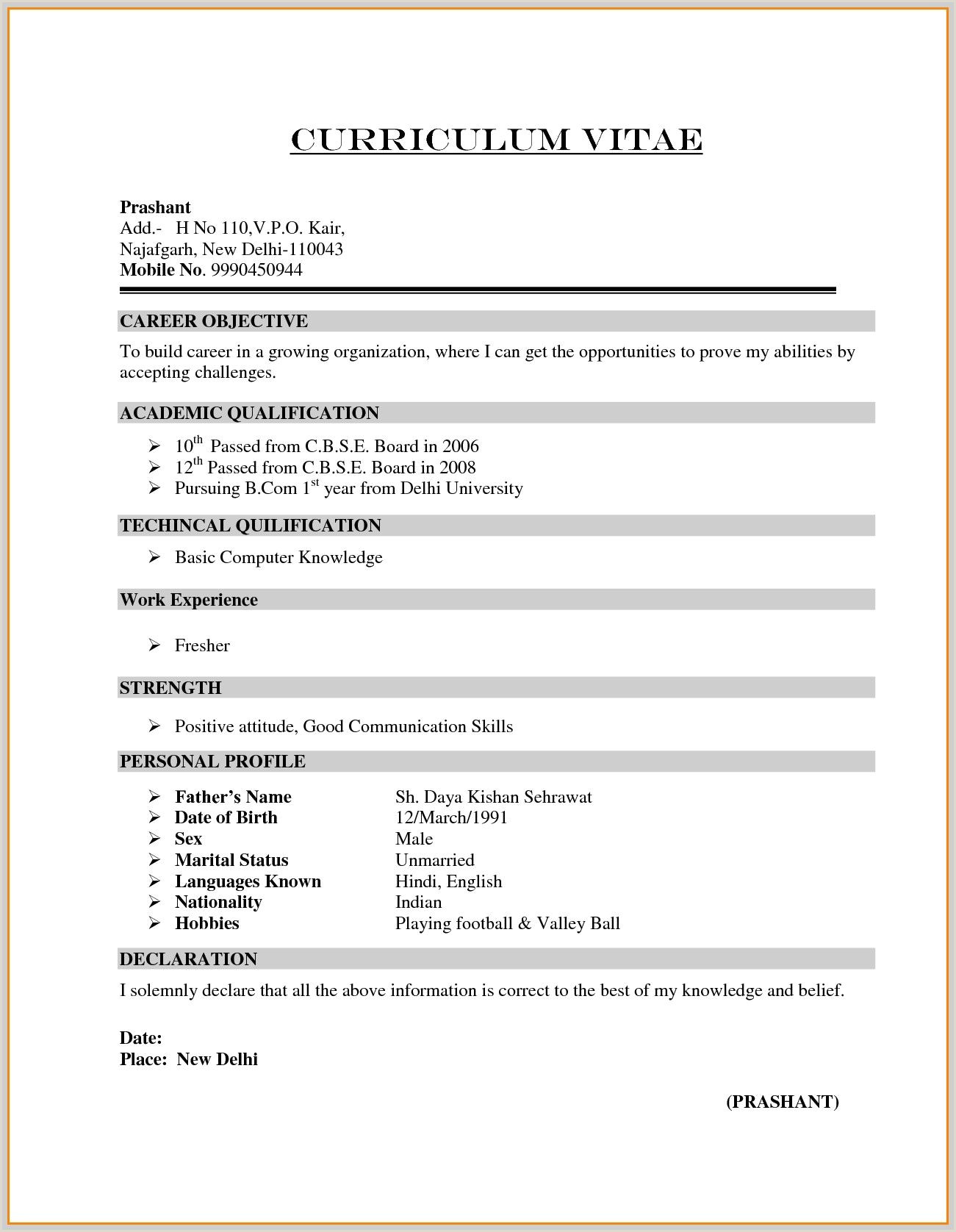 Latest Fresher Cv format Image Result for Resume format for B Freshers