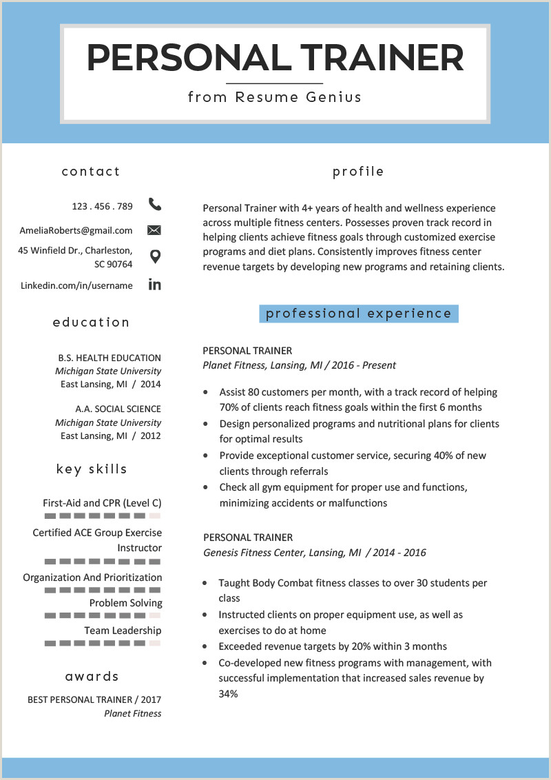 Latest Standard Cv format Personal Trainer Resume Sample and Writing Guide