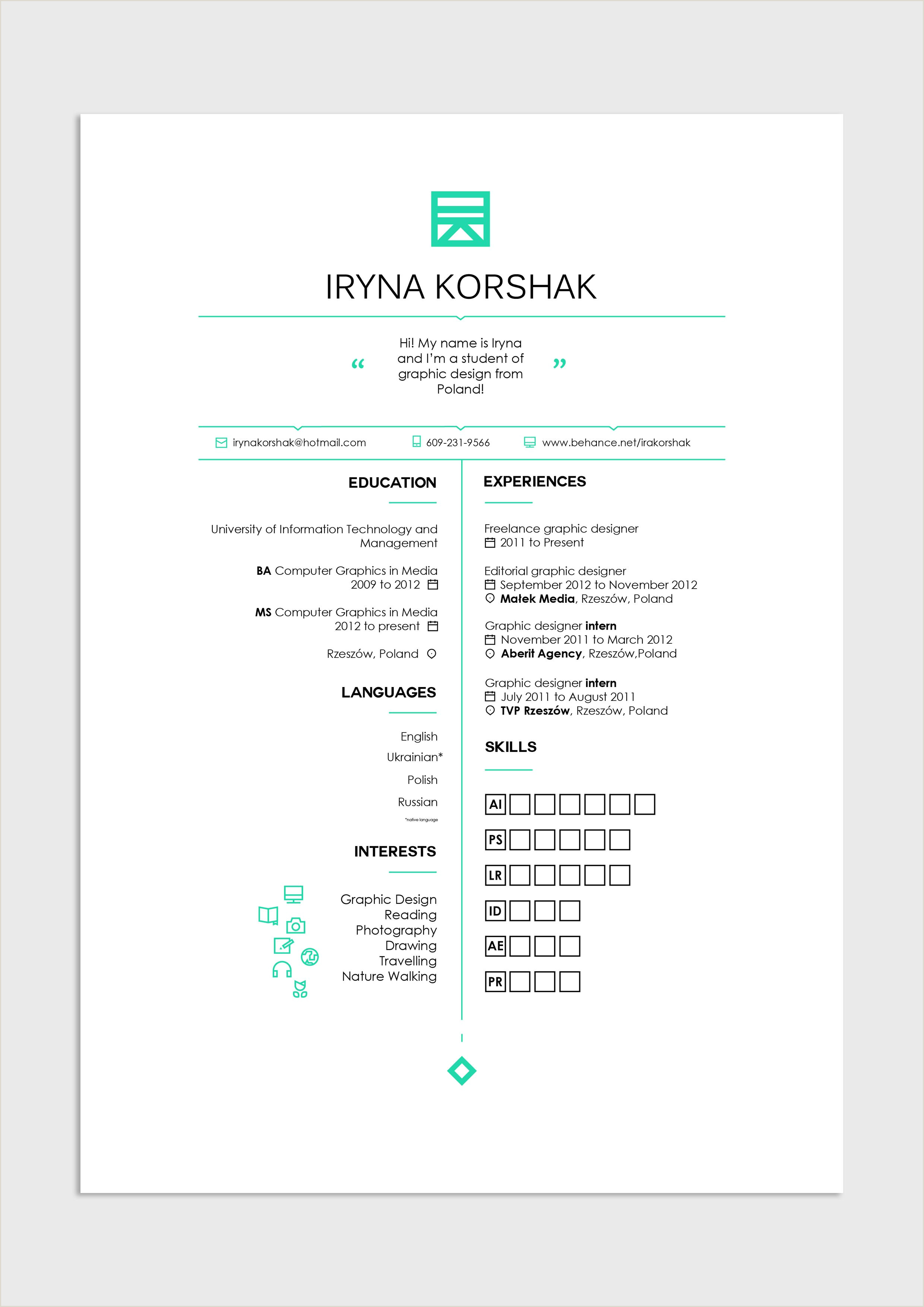 Layout Curriculo Simples Graphic Design Editorial Layout Resume Cv Job Work