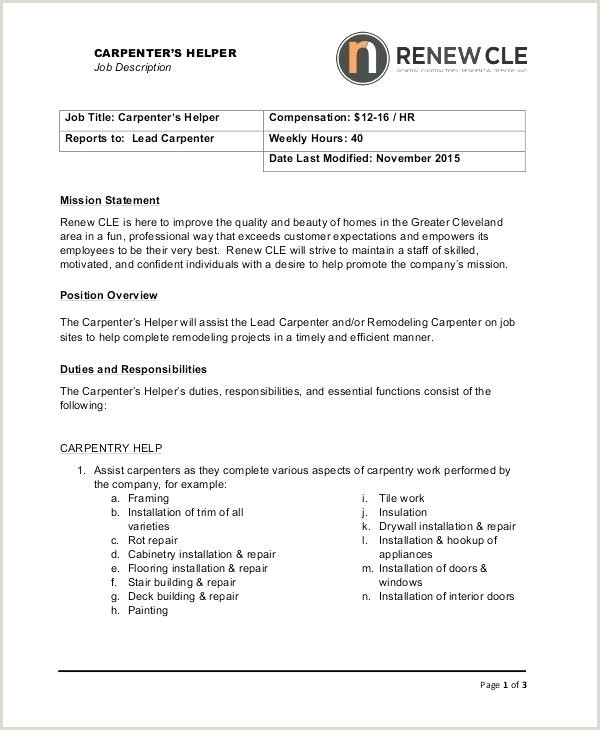 carpenter job description template