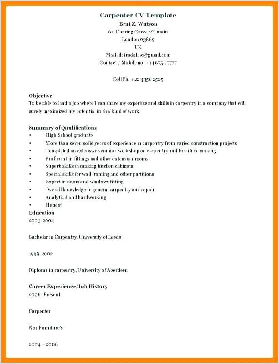 Carpenter Resume Job Description New Finish Template For