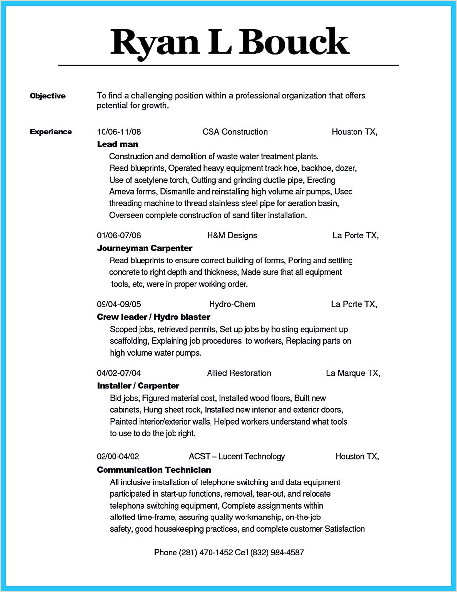 Lead Carpenter Resume Tips You Wish You Knew to Make the Best Carpenter Resume