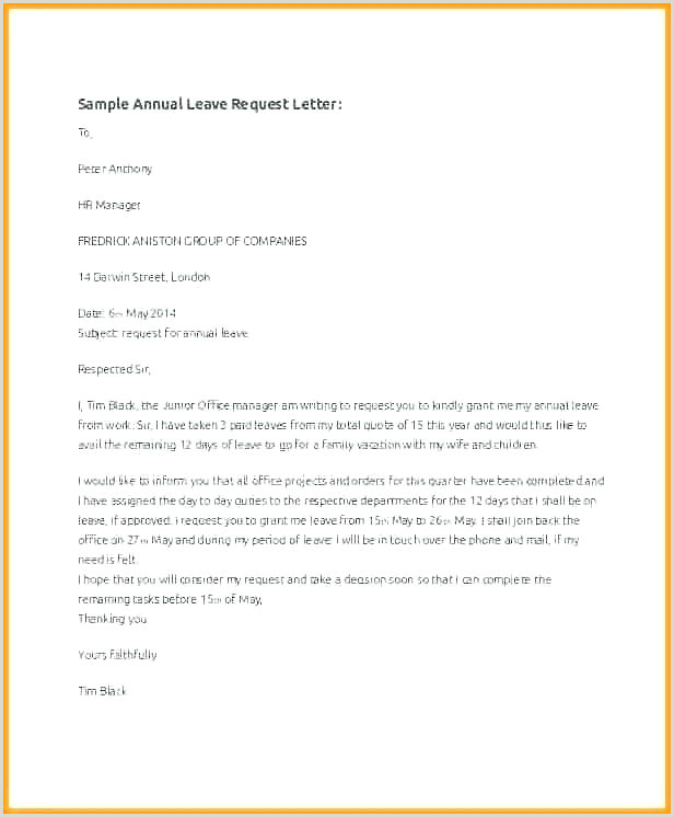 Leave Request form formal Leave Application E Mail Template Sick Email Sample