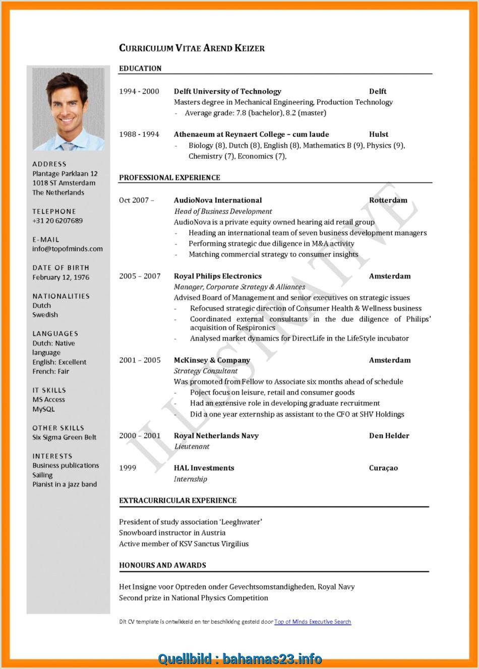 Lebenslauf Akademiker Muster Word Neu Frisch Cv Muster Word Englisch Curriculum Vitae English