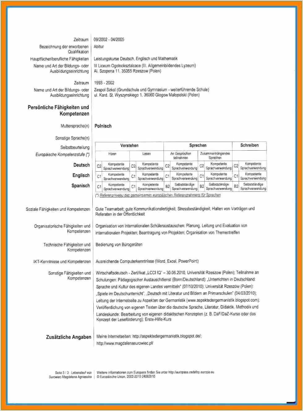 Lebenslauf Muster Abitur 10 Europass Lebenslauf Muster Deutsch Bezüglich Indeed
