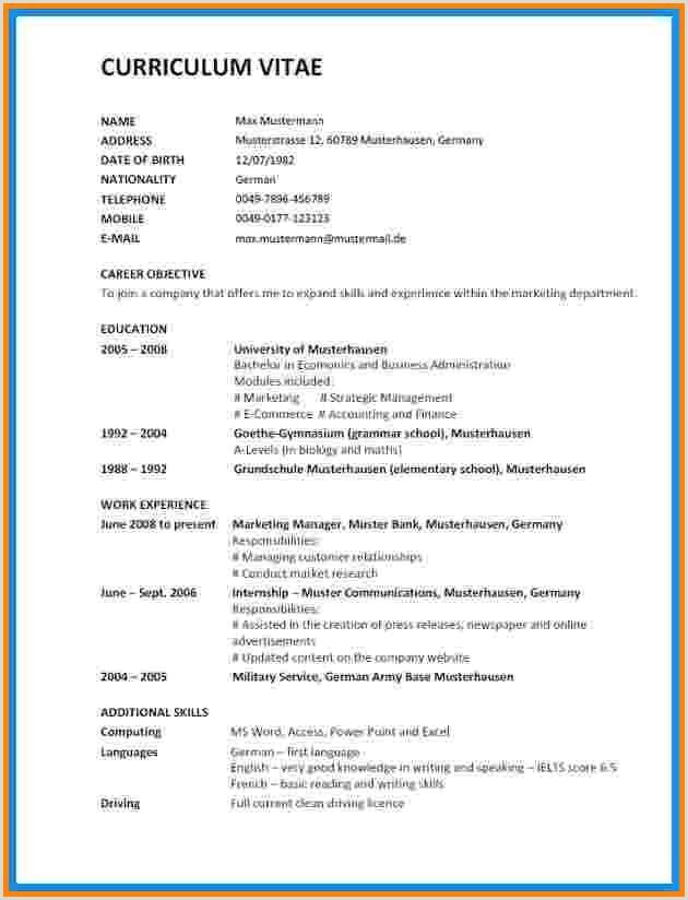 Lebenslauf Muster Auf Englisch 17 Englische Lebenslauf