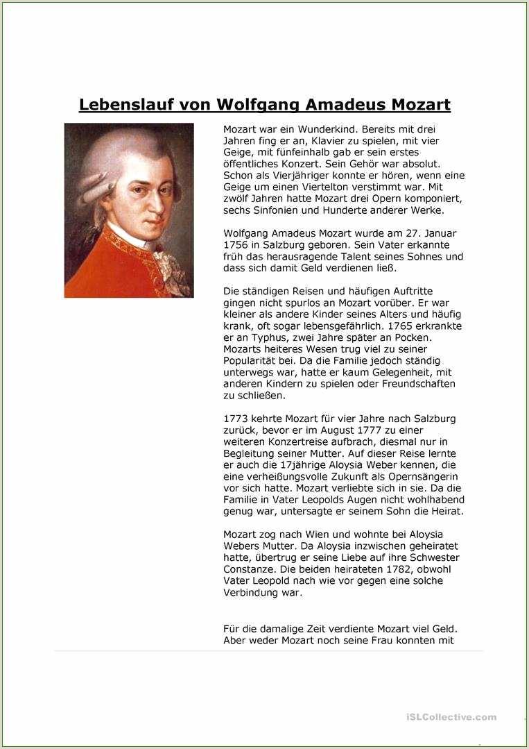 Wolfgang Amadeus Mozart Arbeitsblatt Kostenlose Daf