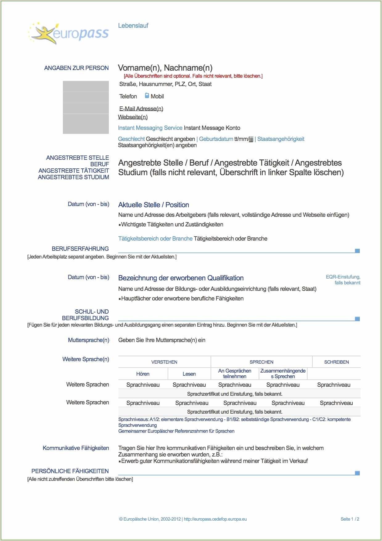 Europass Lebenslauf Deutsch Muster Lebenslauf Bezüglich