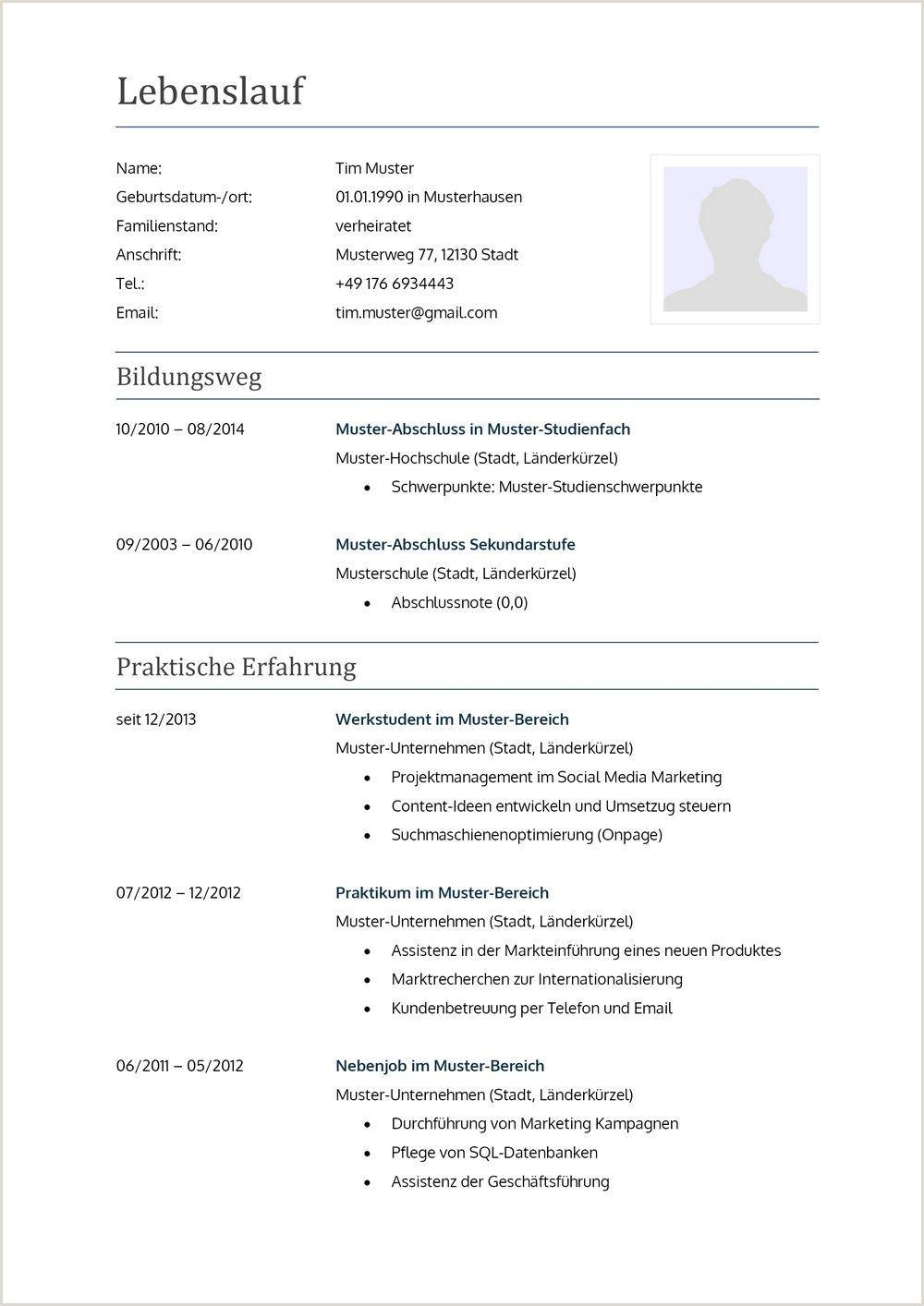 Lebenslauf Muster Deutsch Word 30 Undergraduate Lebenslauf Muster Ausbildung Word Interview