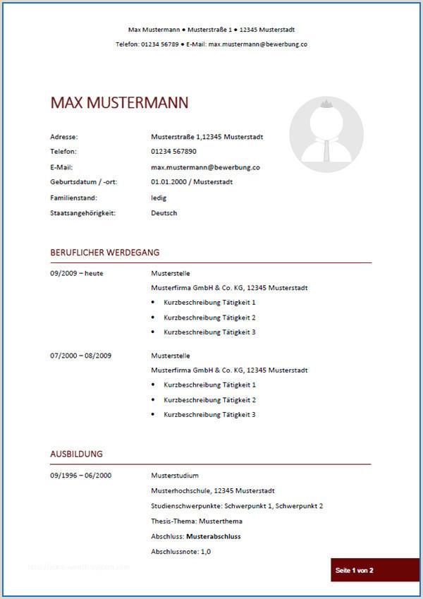 Lebenslauf Muster Deutschland Lebenslauf Vorlage