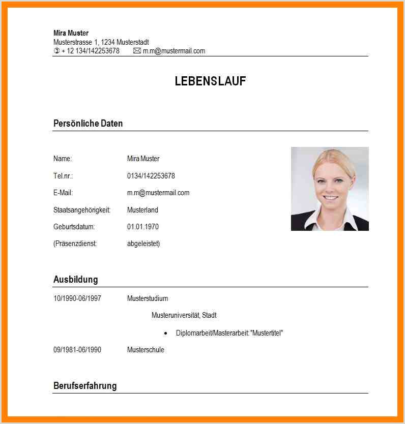 Lebenslauf Muster Einbürgerungsantrag Lebenslauf Student Muster Name
