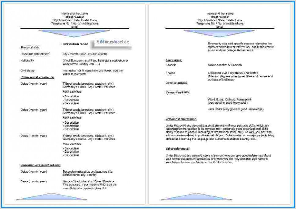 Lebenslauf Muster Englisch Kostenlos Download Free 11 Lebenslauf Vorlage Deutsch Activetraining