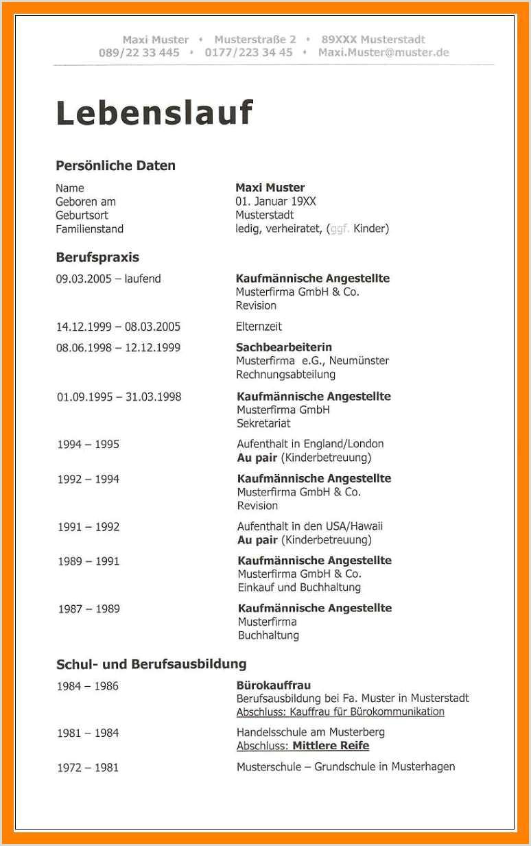 Lebenslauf Muster Für Ausbildung 11 Ausführlicher Lebenslauf Vorlage