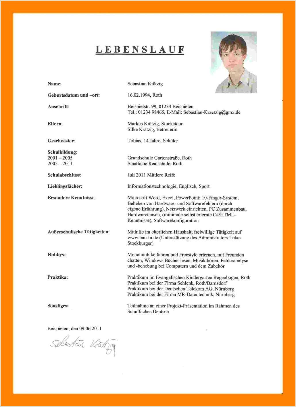 Lebenslauf Muster Für Den Deutschen Pass Praktikum Brief 2019 01 15t22 21