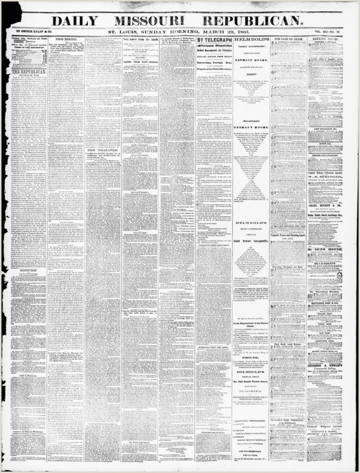 Lebenslauf Muster Für Word Daily Missouri Republican Saint Louis Mo 1863 03 29