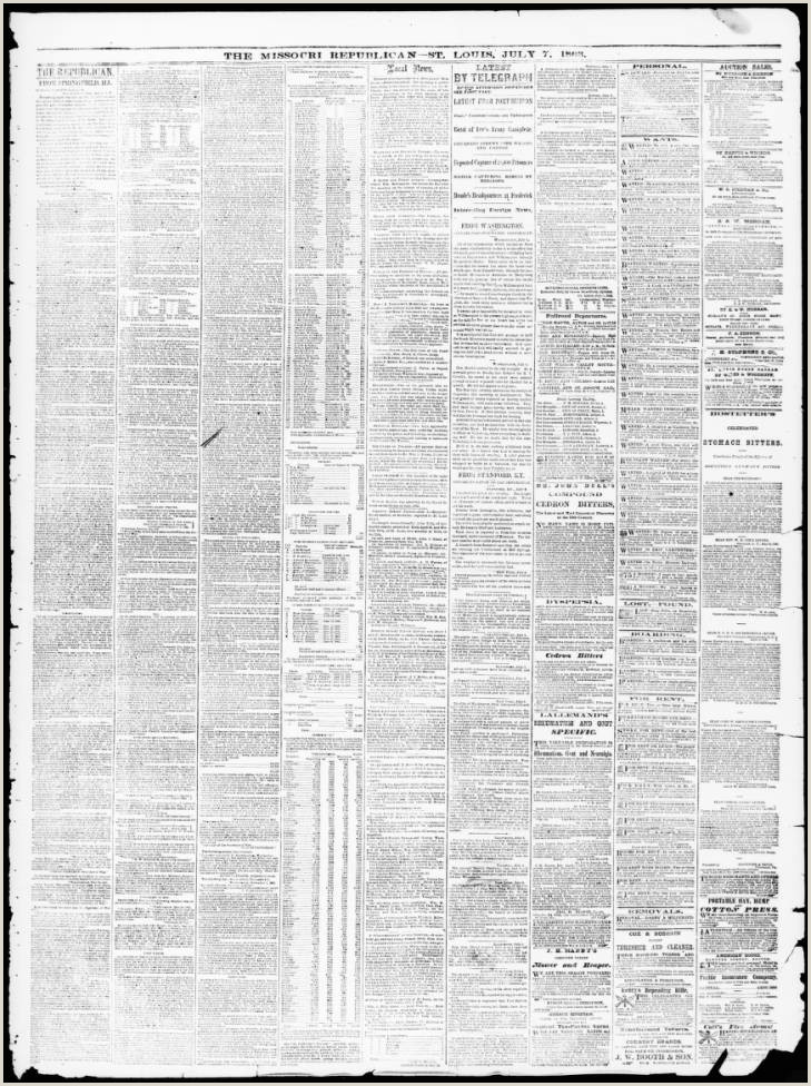 Lebenslauf Muster Für Word Daily Missouri Republican Saint Louis Mo 1863 07 07