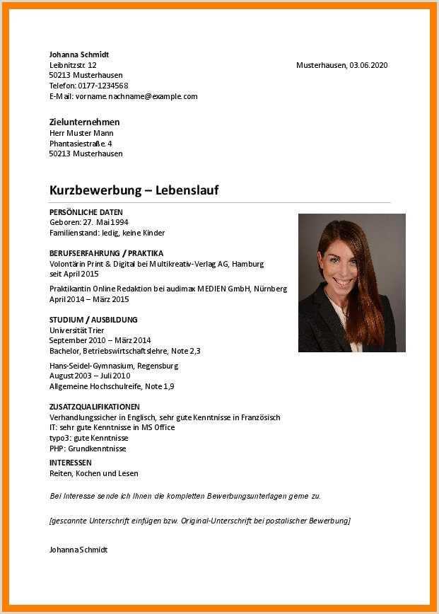 Lebenslauf Muster Germanistik 15 Lebenslauf Muster Studium
