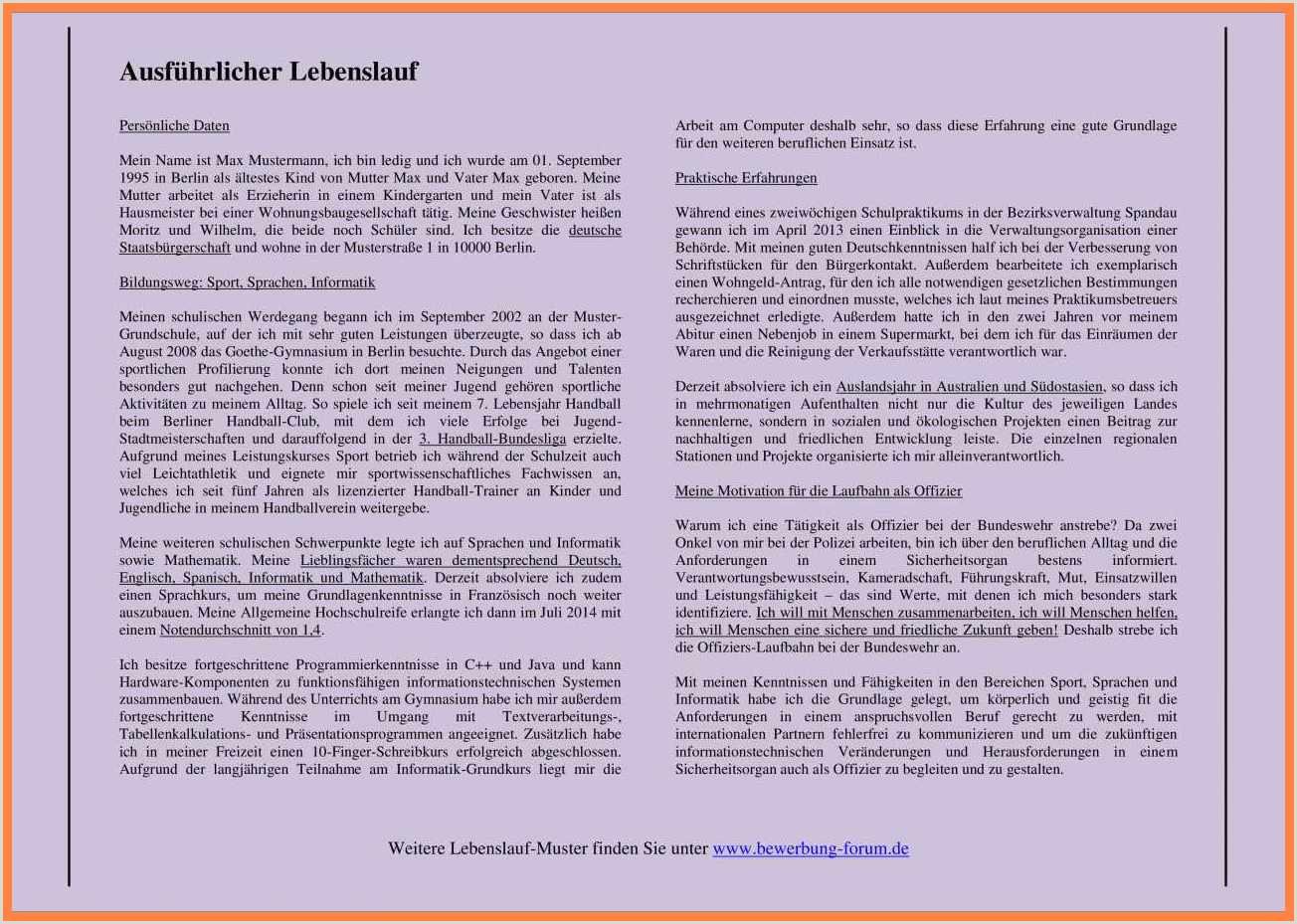 18 handschriftlicher tabellarischer lebenslauf