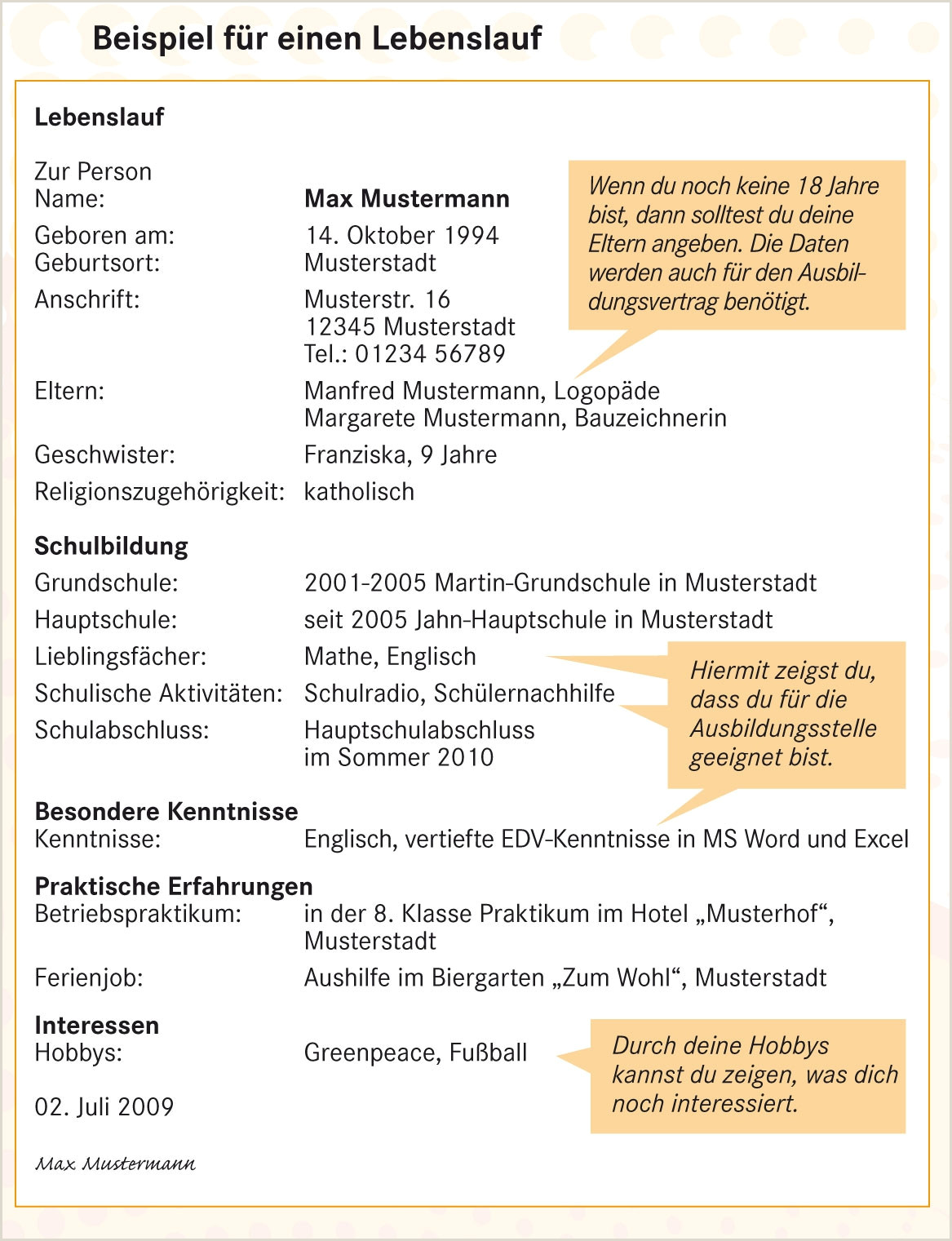 Lebenslauf Muster Hobbys Interessen 12 Max Mustermann Lebenslauf
