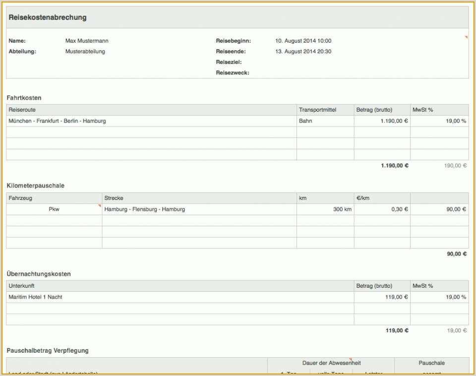 Reisekostenabrechnung Vorlage 42 Modisch Vorlage Sie Kennen