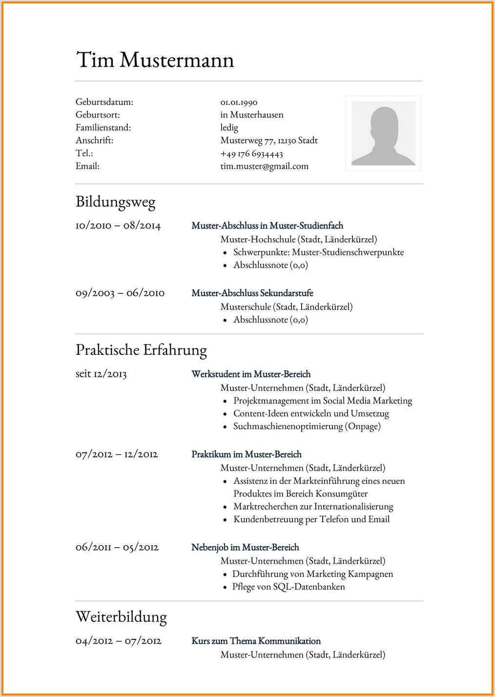 14 Platzierung Muster Lebenslauf Hochschule Interview