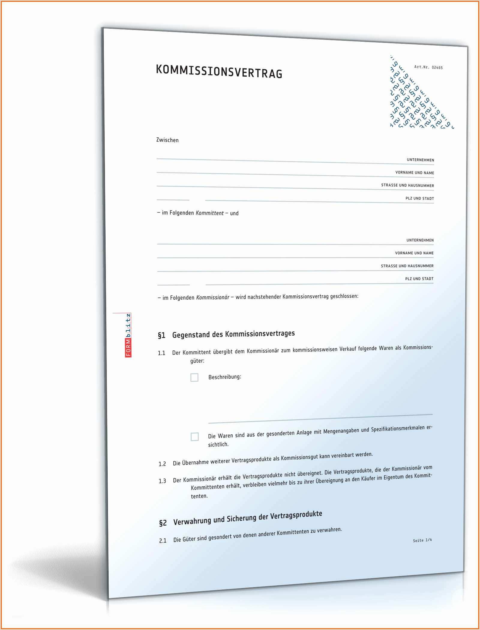 48 Erschwinglich Kommissionsvertrag Vorlage Kostenlos Vorlagen