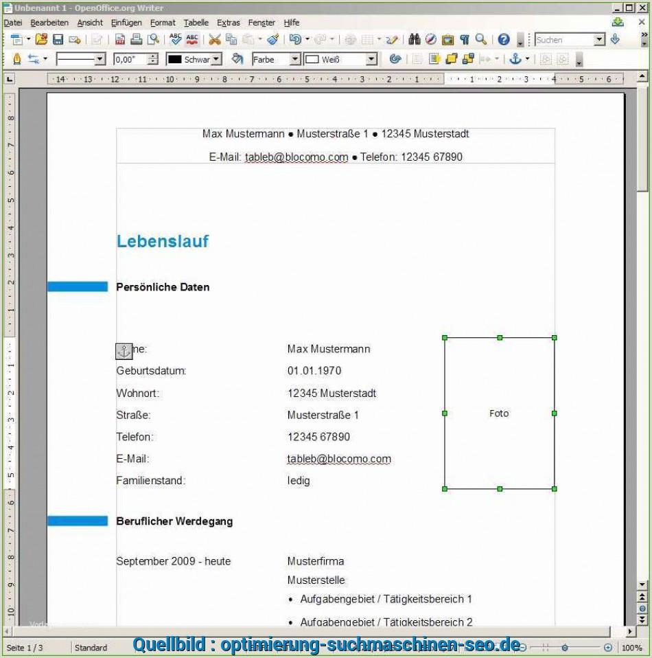 Lebenslauf Muster Kostenlos Open Office Neu Open Fice Bewerbung Vorlage Gute Lebenslauf Vorlagen
