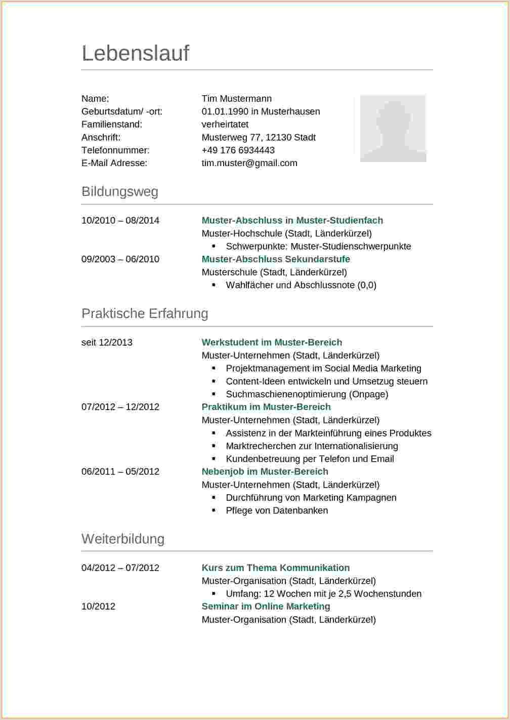 Lebenslauf Muster Lehre 15 Lebenslauf Schreiben Ausbildung