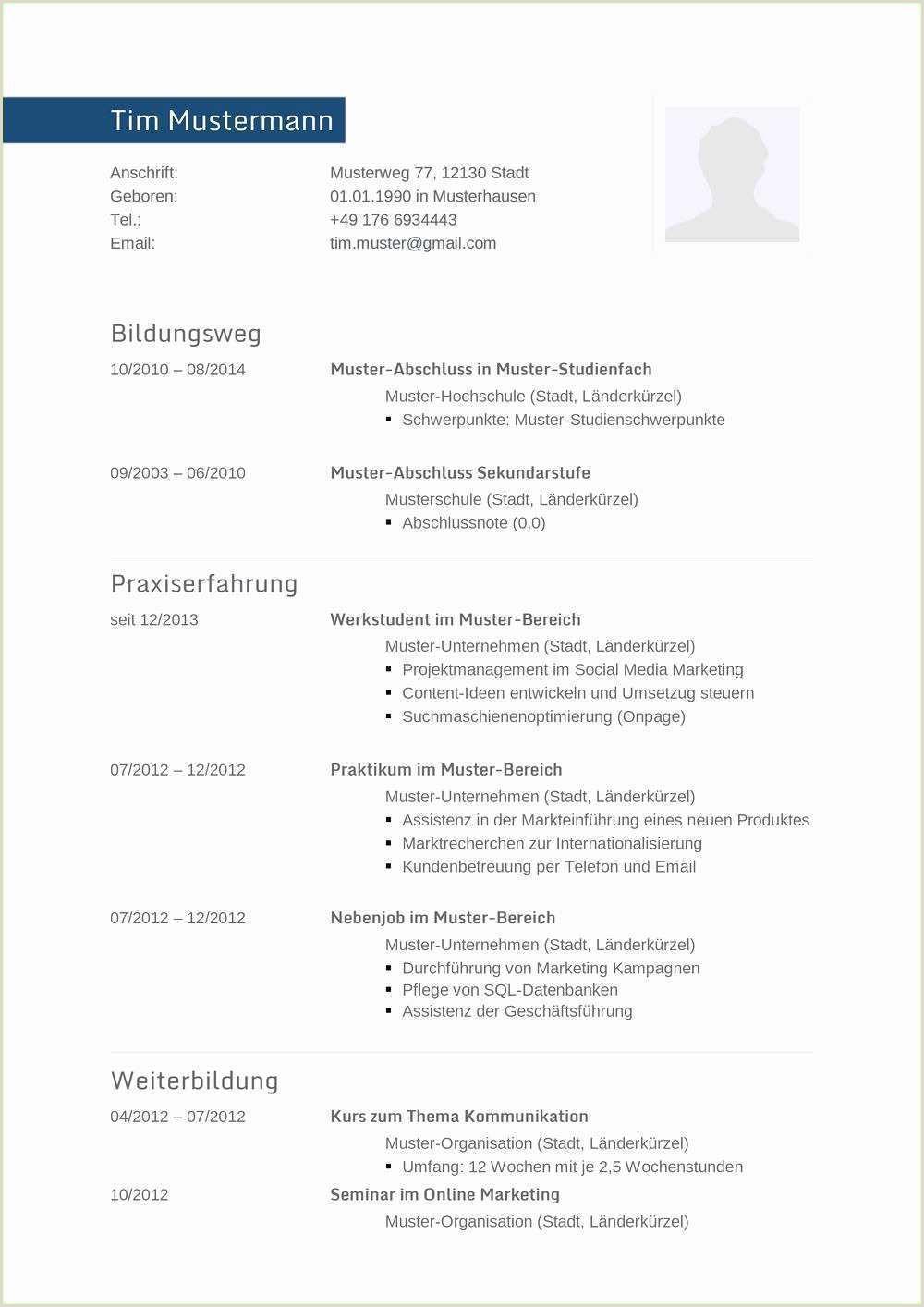 Lebenslauf Muster Marketing 15 Lebenslauf Muster Ausbildung
