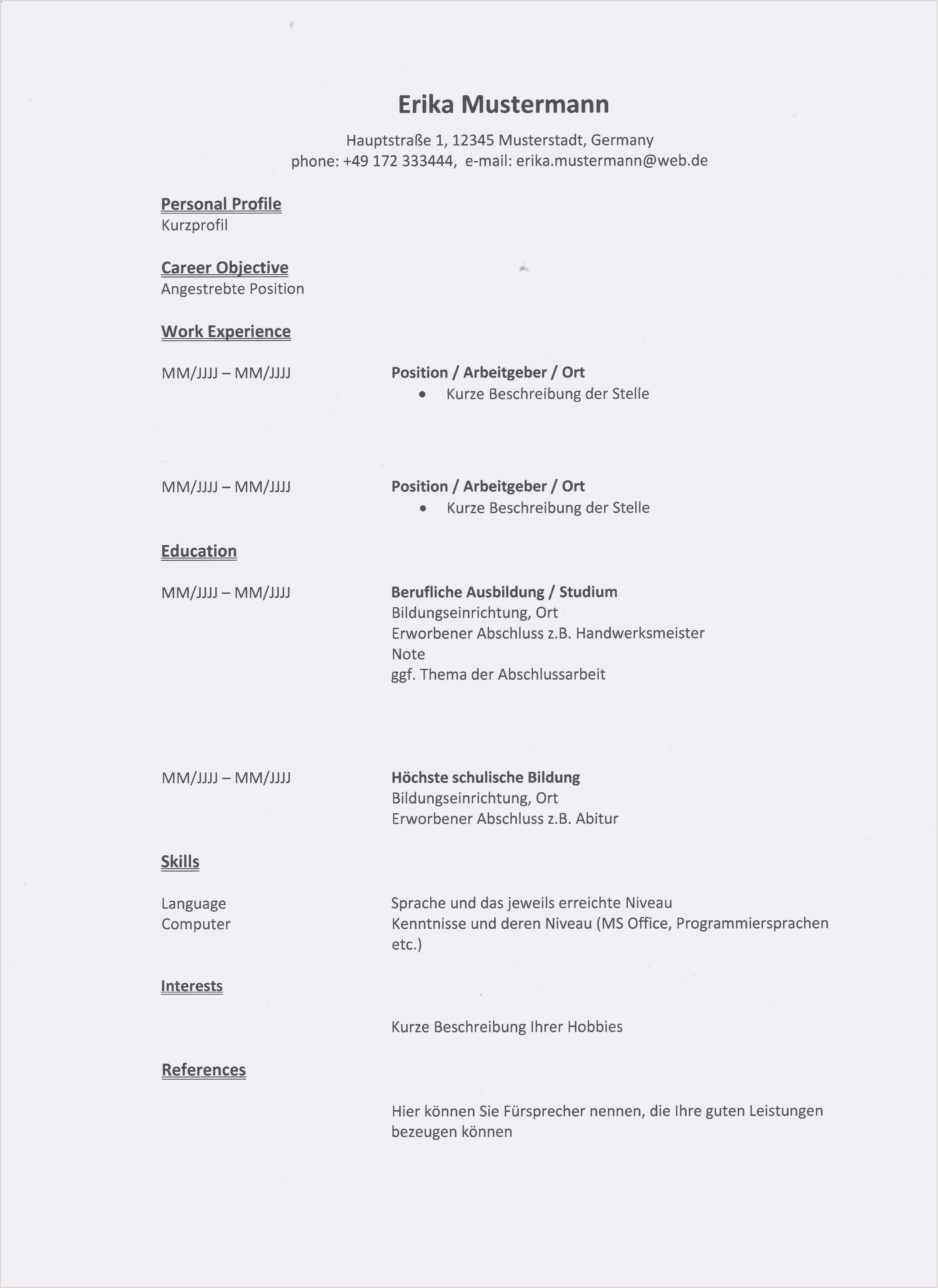 Muster Lebenslauf Englisch Vorlage Lebenslauf Englisch 8 2