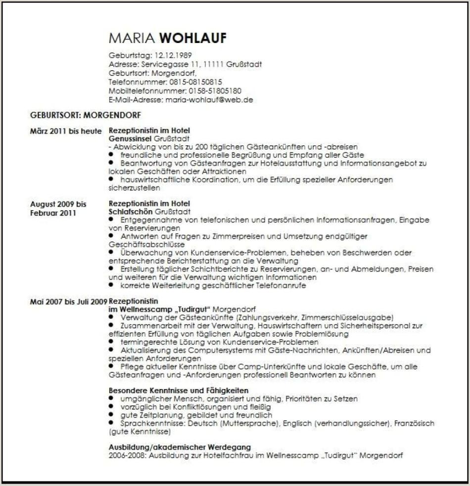 Lebenslauf Muster Rezeptionistin 13 Bewerbung Empfangsmitarbeiter