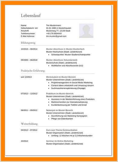 Lebenslauf Muster Schüler 8 Klasse Bewerbungsschreiben