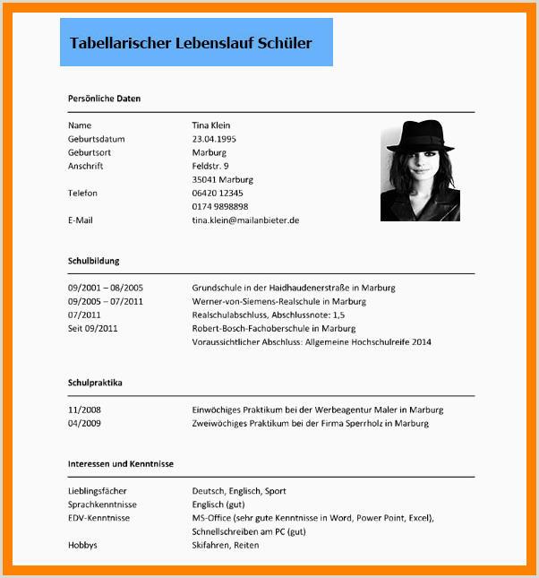 11 tabellarischer lebenslauf schler fr praktikum the lead