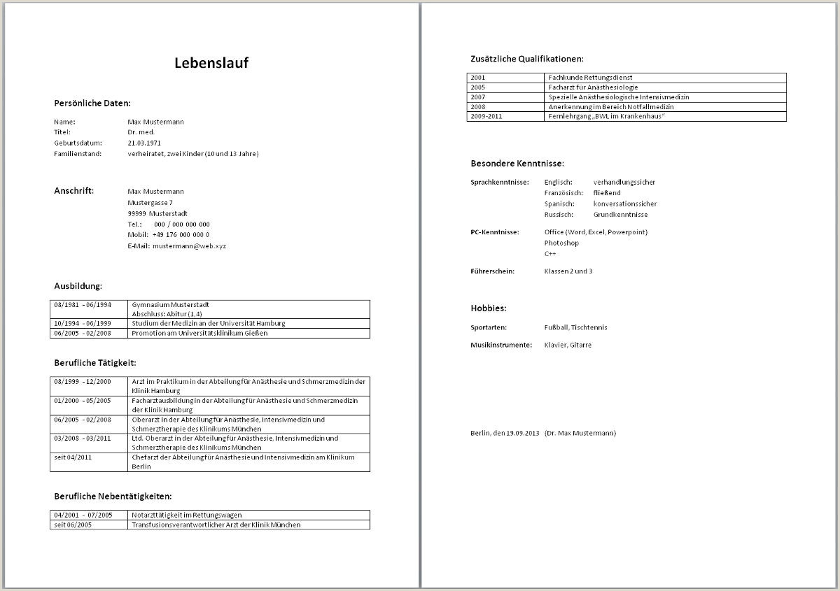 Photo of Lebenslauf Muster Tabellarisch Word